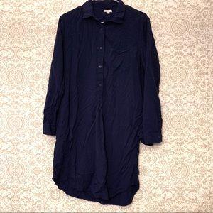 gap popover henley navy blue shirt dress